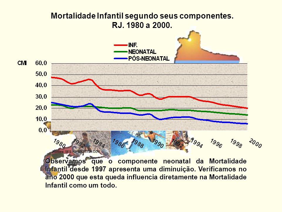 Mortalidade Infantil segundo seus componentes. RJ. 1980 a 2000.