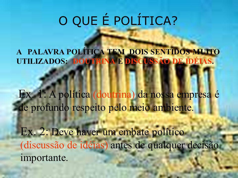 O QUE É POLÍTICA A PALAVRA POLÍTICA TEM DOIS SENTIDOS MUITO UTILIZADOS: DOUTRINA E DISCUSSÃO DE IDÉIAS.
