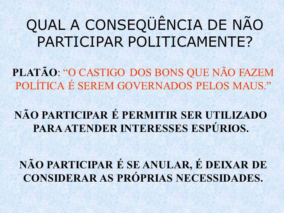 QUAL A CONSEQÜÊNCIA DE NÃO PARTICIPAR POLITICAMENTE
