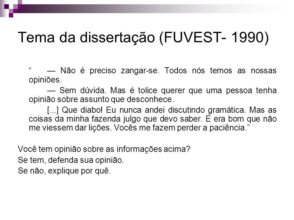 Tema da dissertação (FUVEST- 1990)