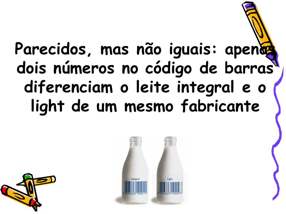 Parecidos, mas não iguais: apenas dois números no código de barras diferenciam o leite integral e o light de um mesmo fabricante