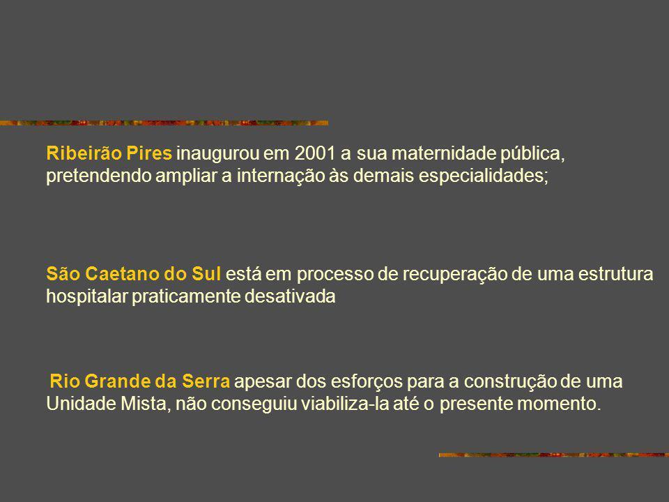 Ribeirão Pires inaugurou em 2001 a sua maternidade pública, pretendendo ampliar a internação às demais especialidades;