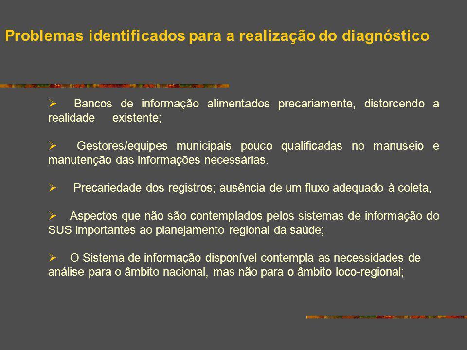 Problemas identificados para a realização do diagnóstico