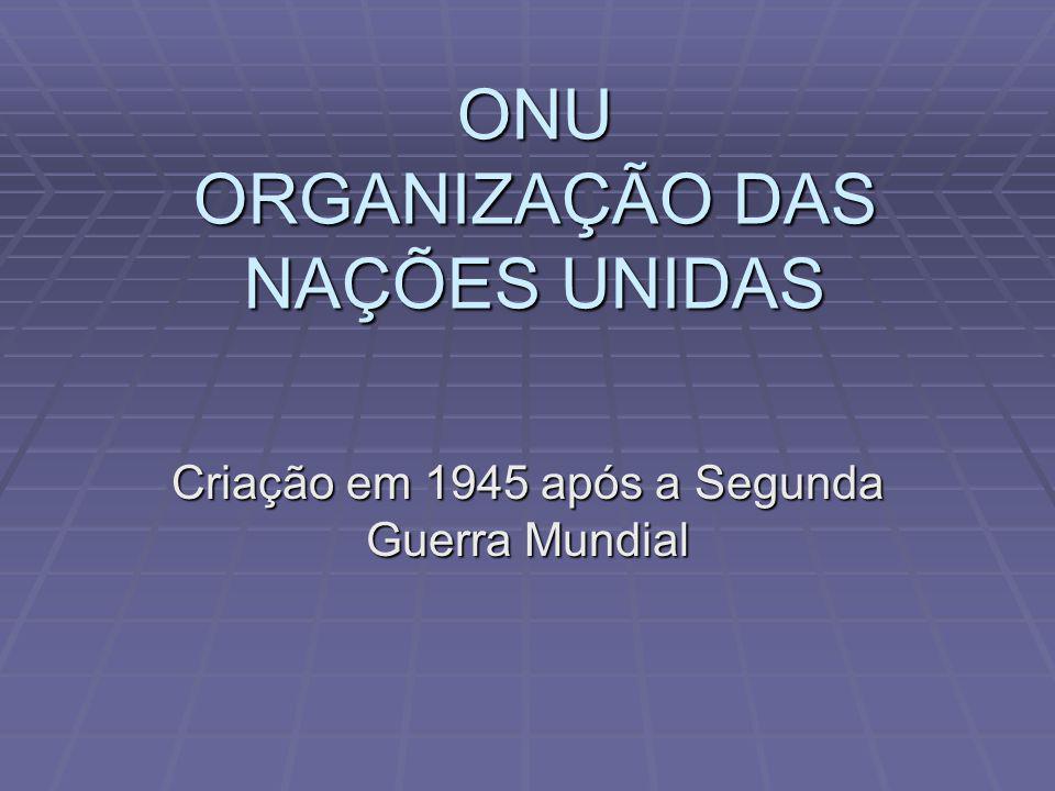 ONU ORGANIZAÇÃO DAS NAÇÕES UNIDAS