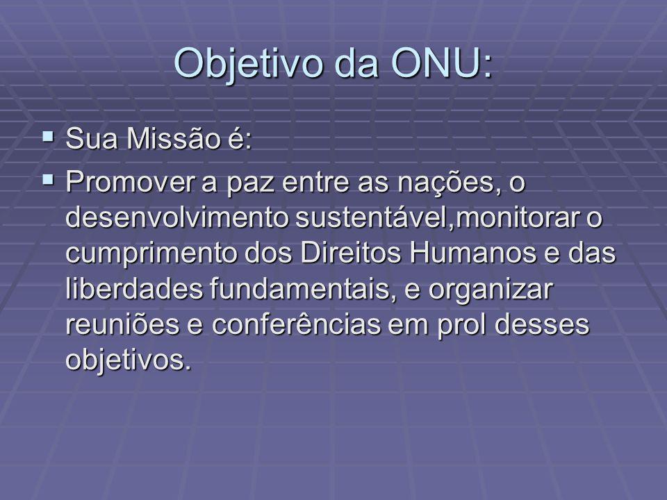 Objetivo da ONU: Sua Missão é: