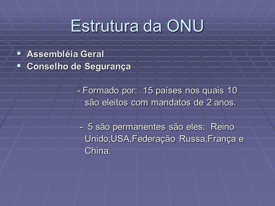 Estrutura da ONU Assembléia Geral Conselho de Segurança