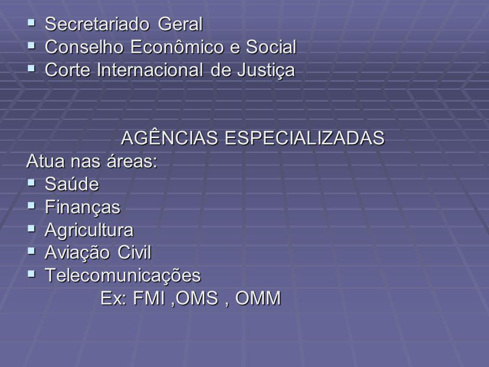 Secretariado Geral Conselho Econômico e Social. Corte Internacional de Justiça. AGÊNCIAS ESPECIALIZADAS.