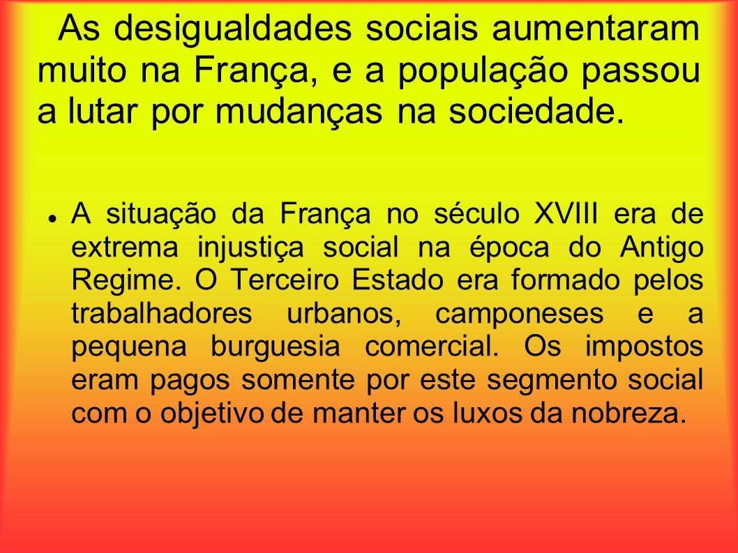 As desigualdades sociais aumentaram muito na França, e a população passou a lutar por mudanças na sociedade.
