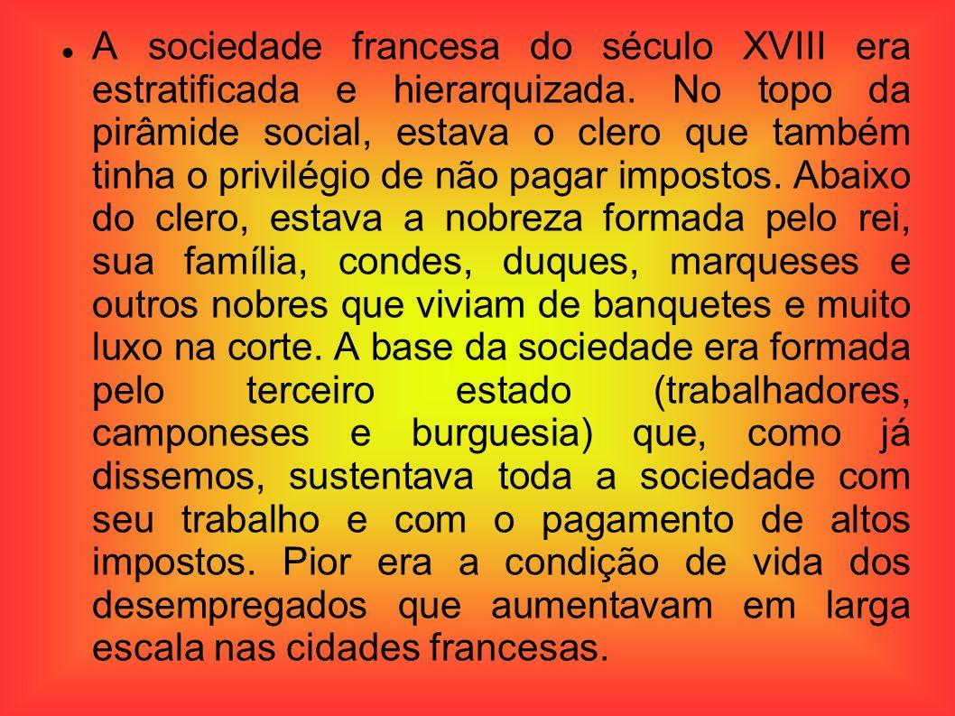 A sociedade francesa do século XVIII era estratificada e hierarquizada