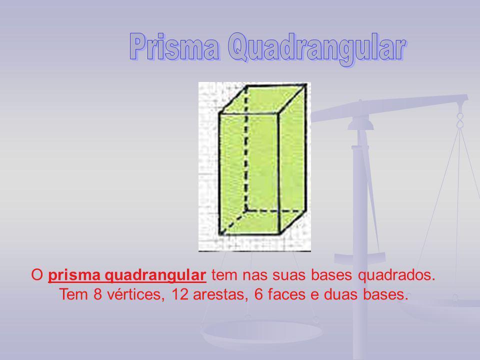 Prisma Quadrangular O prisma quadrangular tem nas suas bases quadrados.