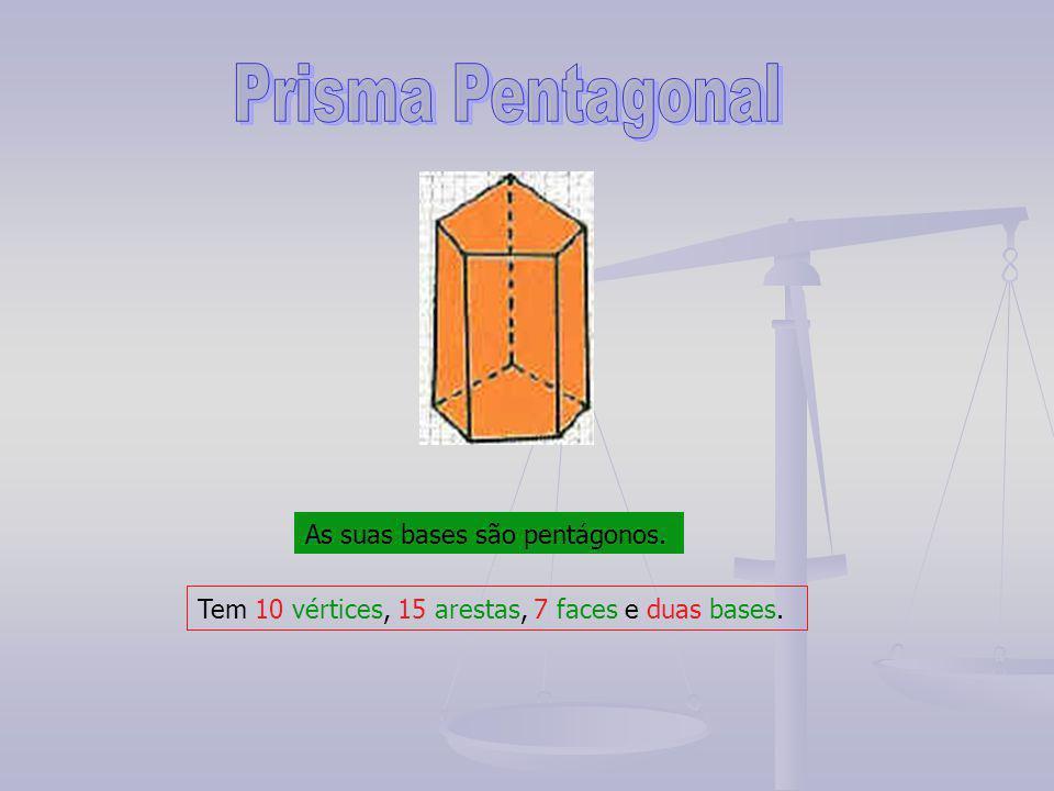 Prisma Pentagonal As suas bases são pentágonos.