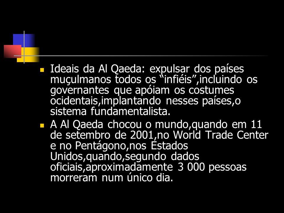Ideais da Al Qaeda: expulsar dos países muçulmanos todos os infiéis ,incluindo os governantes que apóiam os costumes ocidentais,implantando nesses países,o sistema fundamentalista.