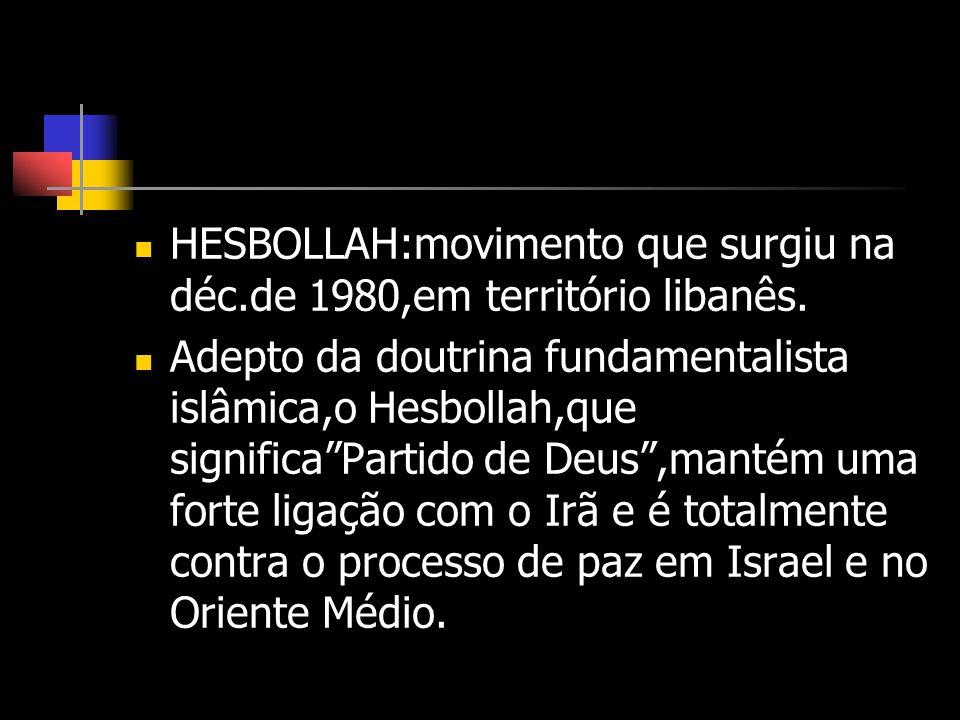 HESBOLLAH:movimento que surgiu na déc.de 1980,em território libanês.