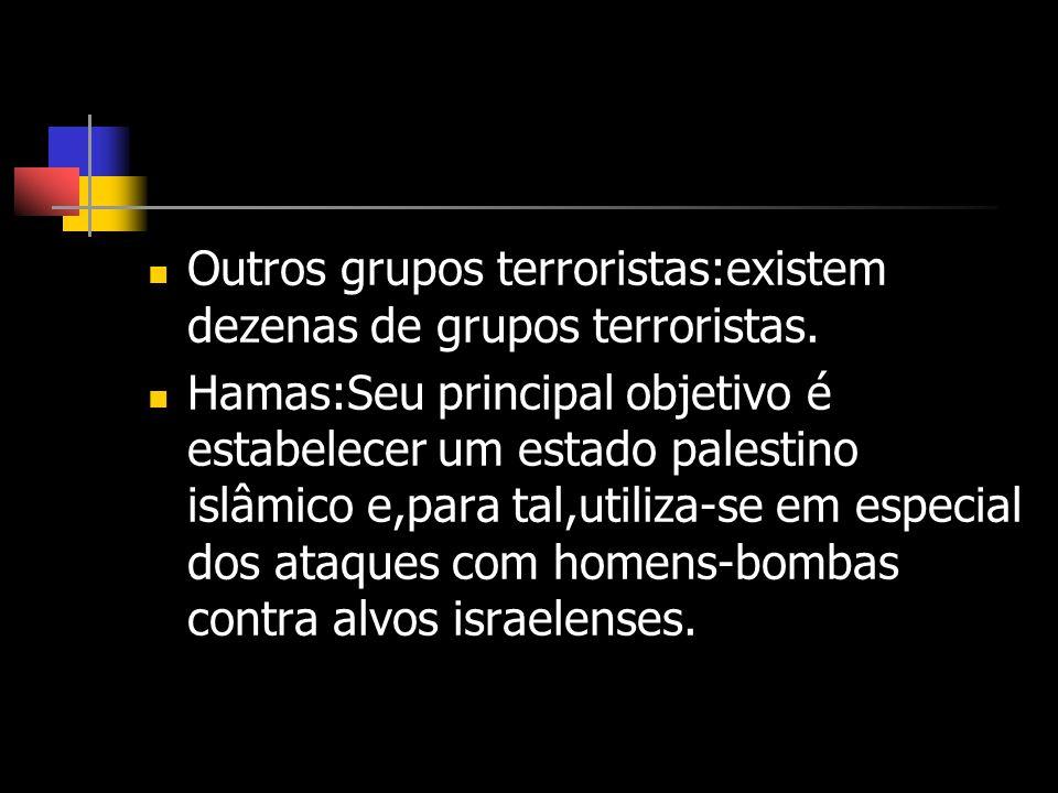 Outros grupos terroristas:existem dezenas de grupos terroristas.