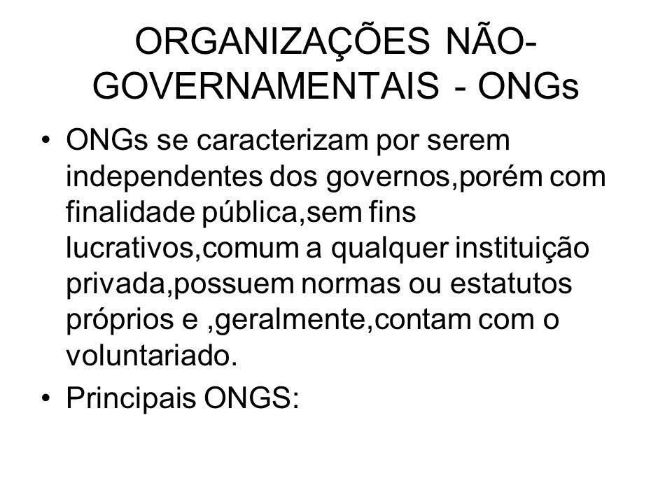 ORGANIZAÇÕES NÃO-GOVERNAMENTAIS - ONGs