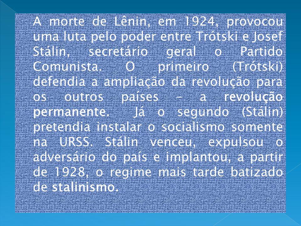 A morte de Lênin, em 1924, provocou uma luta pelo poder entre Trótski e Josef Stálin, secretário geral o Partido Comunista.