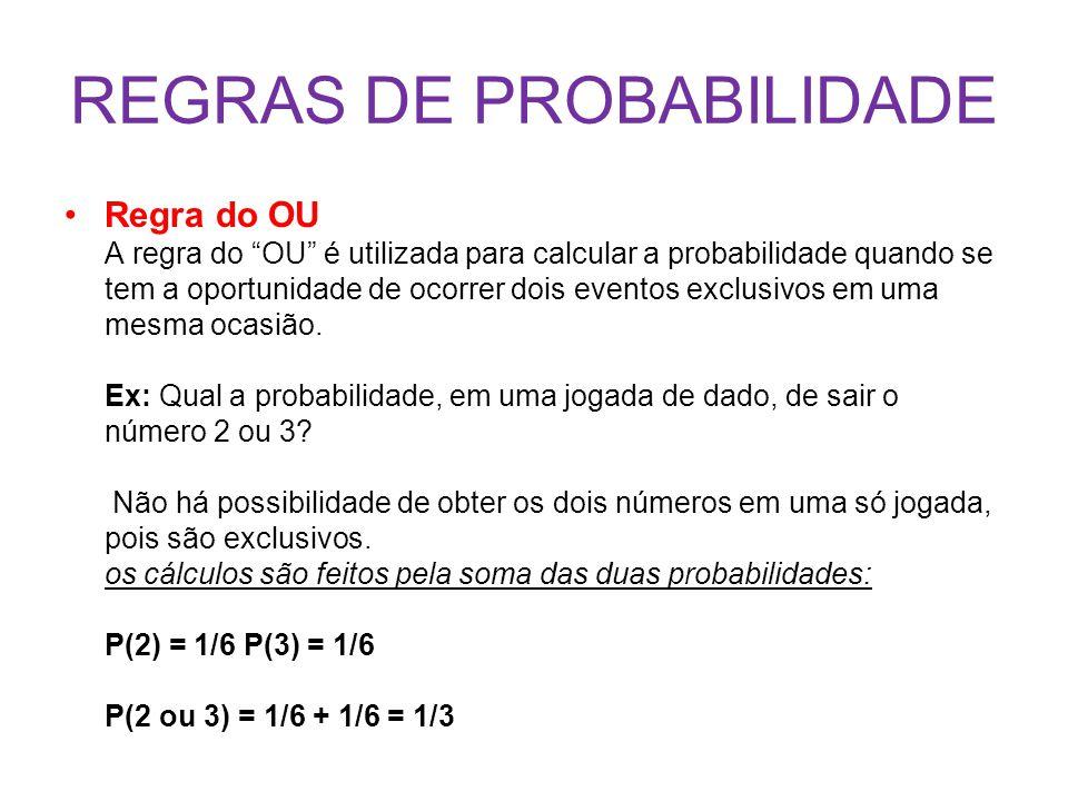 REGRAS DE PROBABILIDADE
