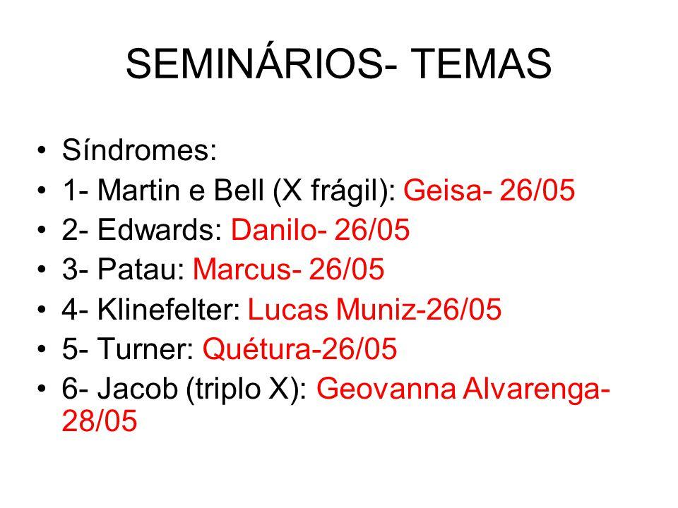 SEMINÁRIOS- TEMAS Síndromes: 1- Martin e Bell (X frágil): Geisa- 26/05