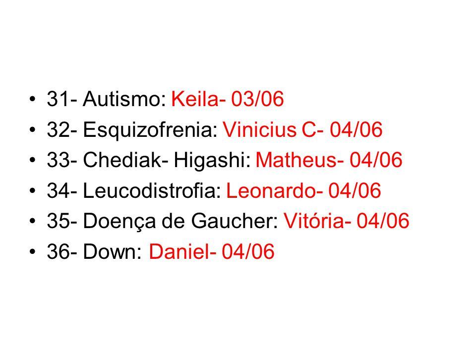 31- Autismo: Keila- 03/06 32- Esquizofrenia: Vinicius C- 04/06. 33- Chediak- Higashi: Matheus- 04/06.