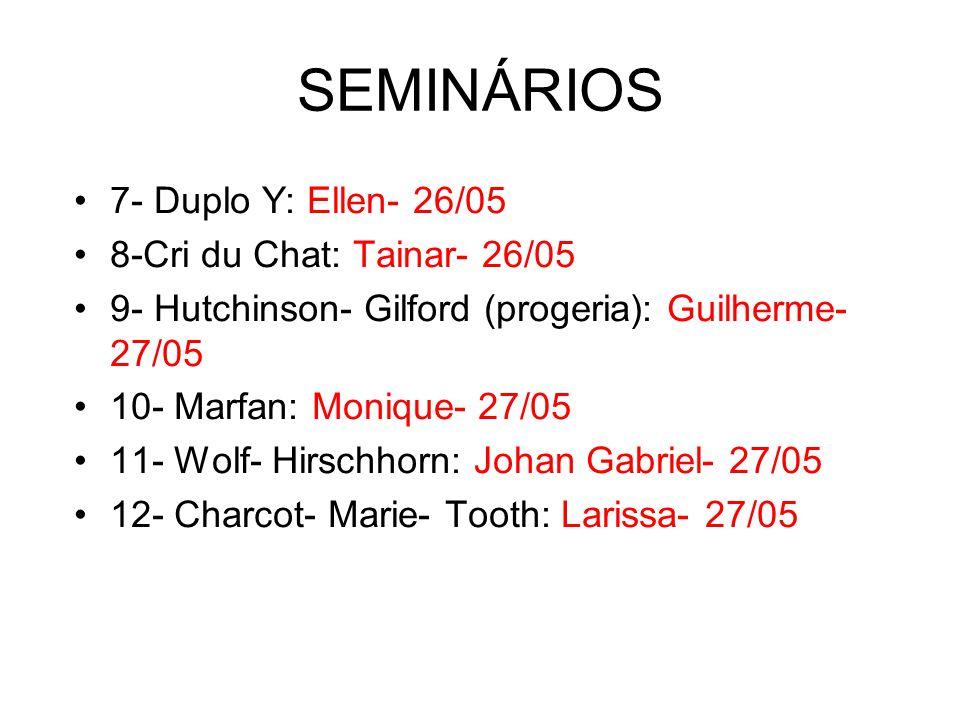 SEMINÁRIOS 7- Duplo Y: Ellen- 26/05 8-Cri du Chat: Tainar- 26/05