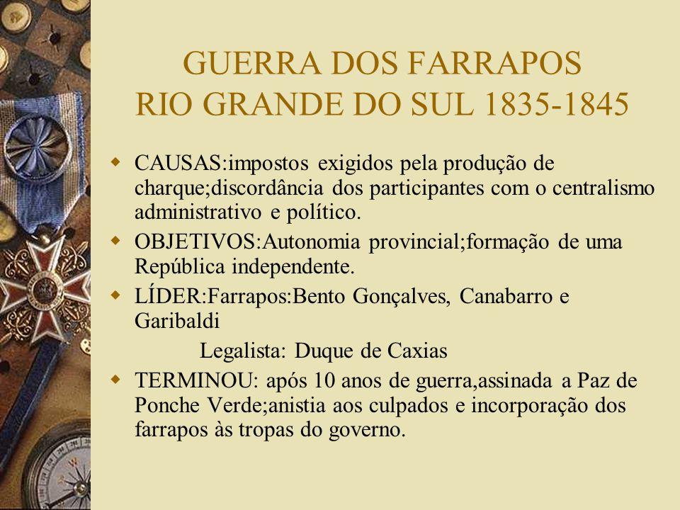 GUERRA DOS FARRAPOS RIO GRANDE DO SUL 1835-1845