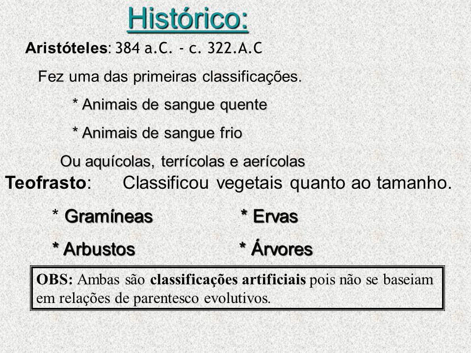 Histórico: Teofrasto: Classificou vegetais quanto ao tamanho.