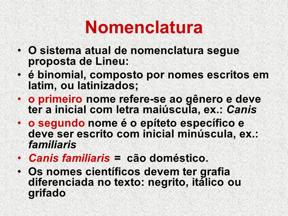 Nomenclatura O sistema atual de nomenclatura segue proposta de Lineu: