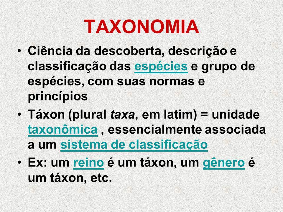 TAXONOMIA Ciência da descoberta, descrição e classificação das espécies e grupo de espécies, com suas normas e princípios.
