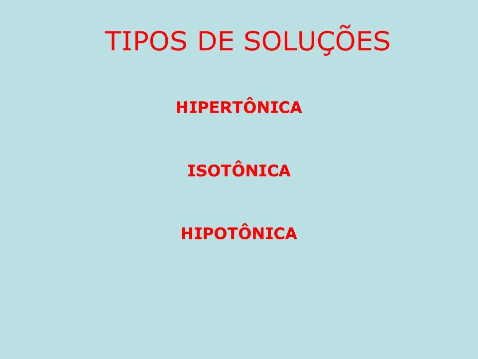 TIPOS DE SOLUÇÕES HIPERTÔNICA ISOTÔNICA HIPOTÔNICA