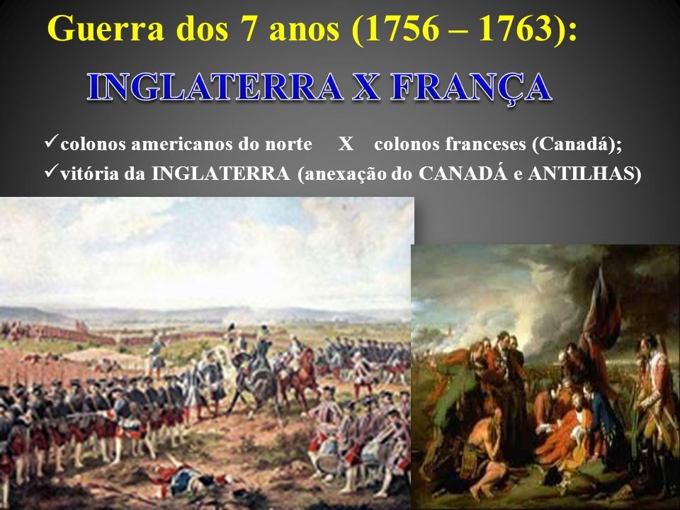 Guerra dos 7 anos (1756 – 1763): INGLATERRA X FRANÇA