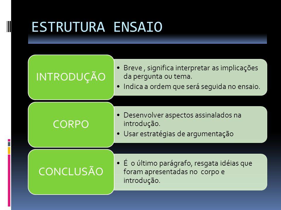 ESTRUTURA ENSAIO INTRODUÇÃO CORPO CONCLUSÃO