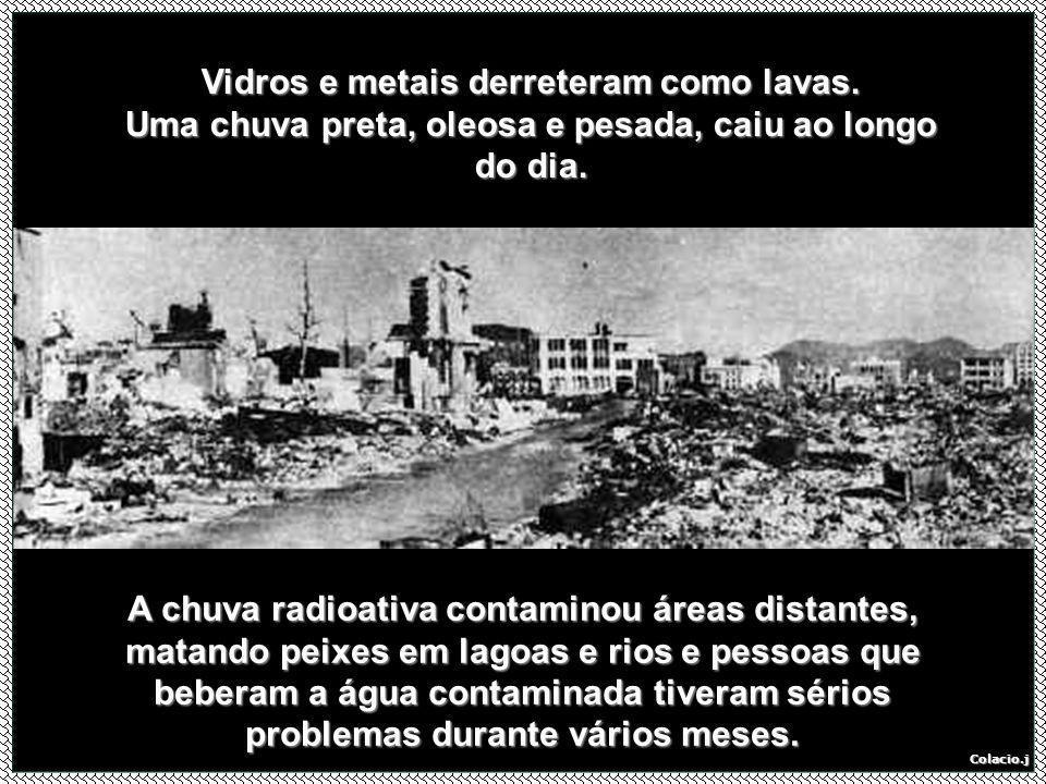 Vidros e metais derreteram como lavas