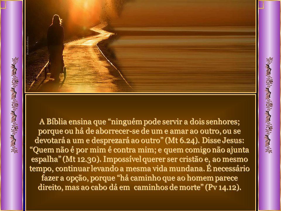 A Bíblia ensina que ninguém pode servir a dois senhores; porque ou há de aborrecer-se de um e amar ao outro, ou se devotará a um e desprezará ao outro (Mt 6.24).