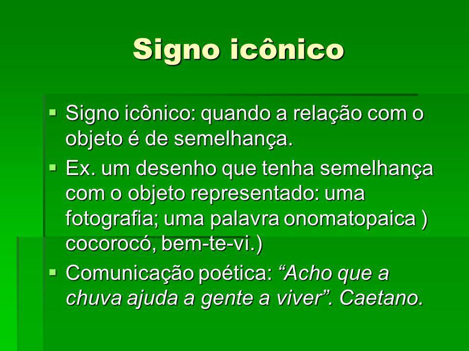 Signo icônico Signo icônico: quando a relação com o objeto é de semelhança.