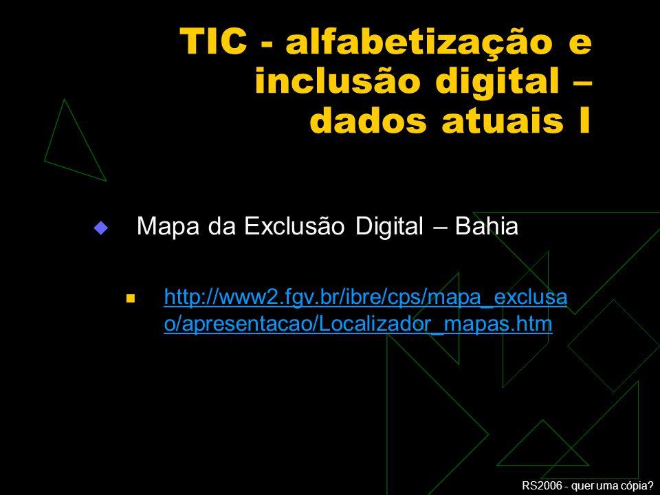 TIC - alfabetização e inclusão digital – dados atuais I