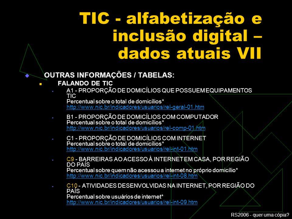 TIC - alfabetização e inclusão digital – dados atuais VII