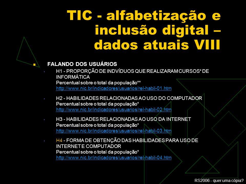 TIC - alfabetização e inclusão digital – dados atuais VIII