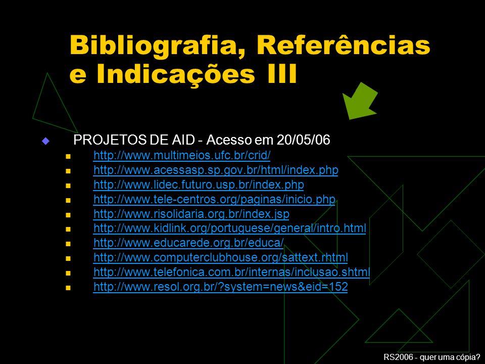 Bibliografia, Referências e Indicações III