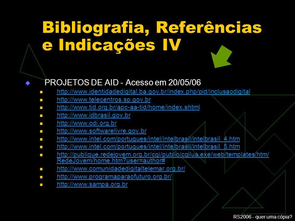 Bibliografia, Referências e Indicações IV