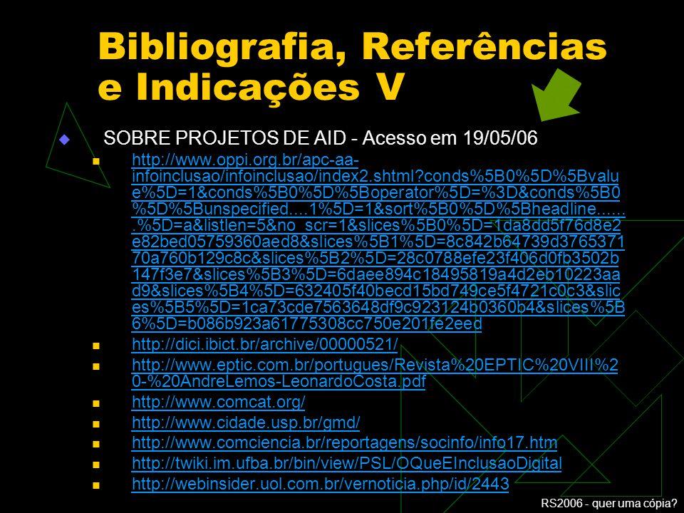 Bibliografia, Referências e Indicações V