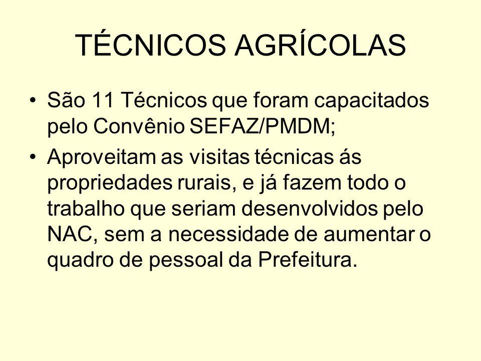 TÉCNICOS AGRÍCOLAS São 11 Técnicos que foram capacitados pelo Convênio SEFAZ/PMDM;