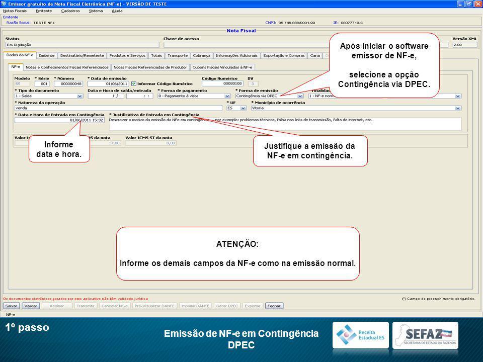 1º passo Emissão de NF-e em Contingência DPEC