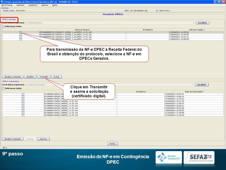 (certificado digital). Emissão de NF-e em Contingência