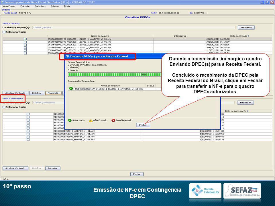 10º passo Emissão de NF-e em Contingência DPEC