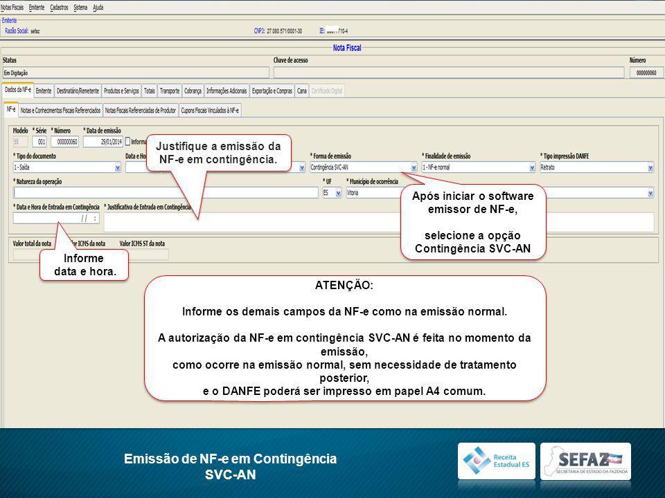 Emissão de NF-e em Contingência SVC-AN