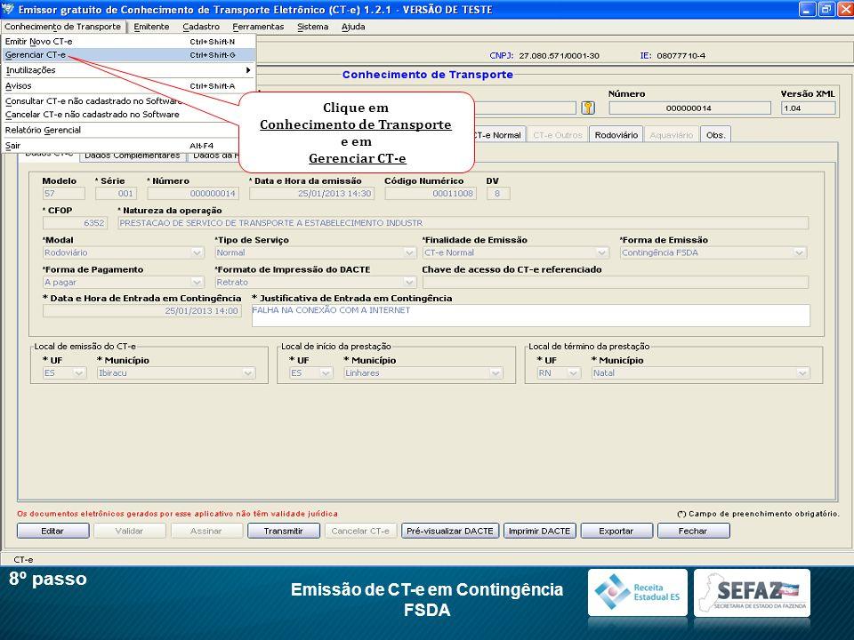 Conhecimento de Transporte Emissão de CT-e em Contingência