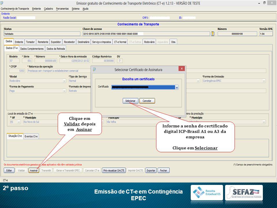 2º passo Emissão de CT-e em Contingência EPEC