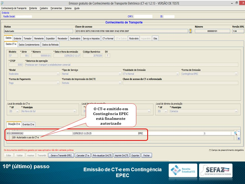 10º (último) passo Emissão de CT-e em Contingência EPEC