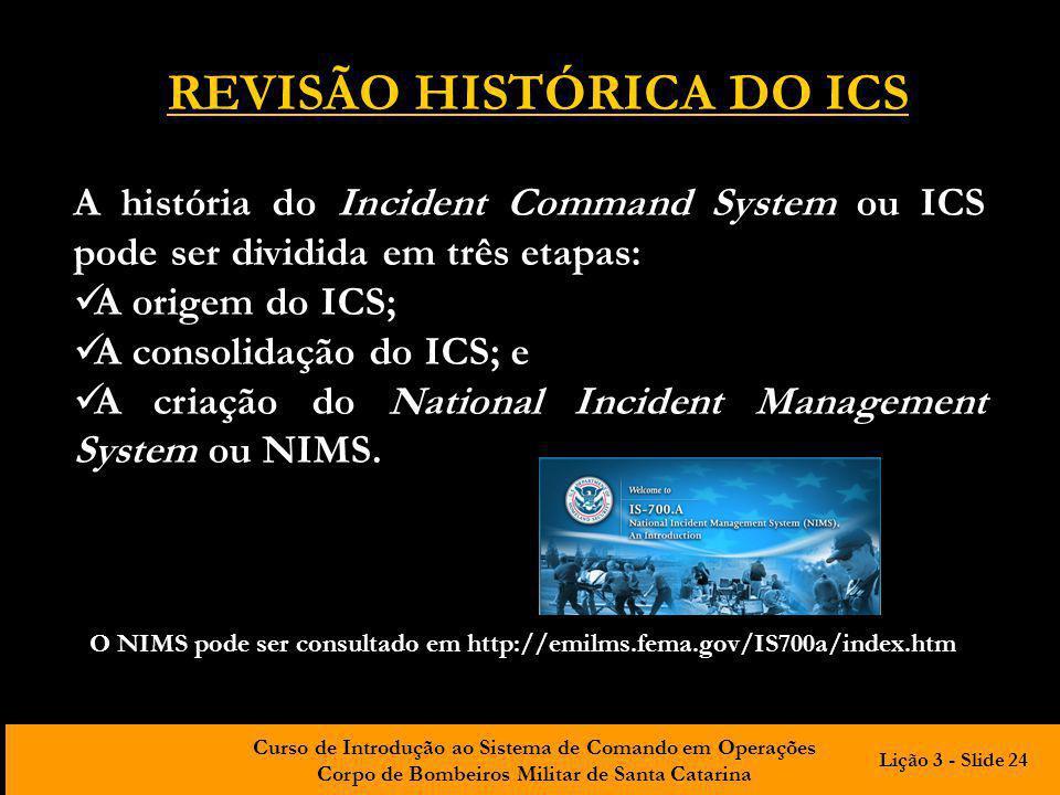 REVISÃO HISTÓRICA DO ICS