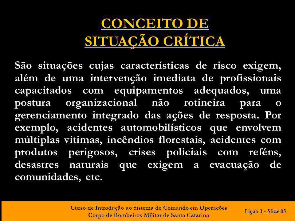 CONCEITO DE SITUAÇÃO CRÍTICA